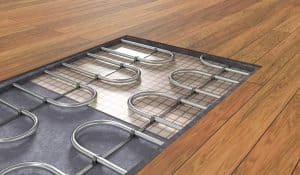 Underfloor heating system under wooden floor. 3D rendered illustration
